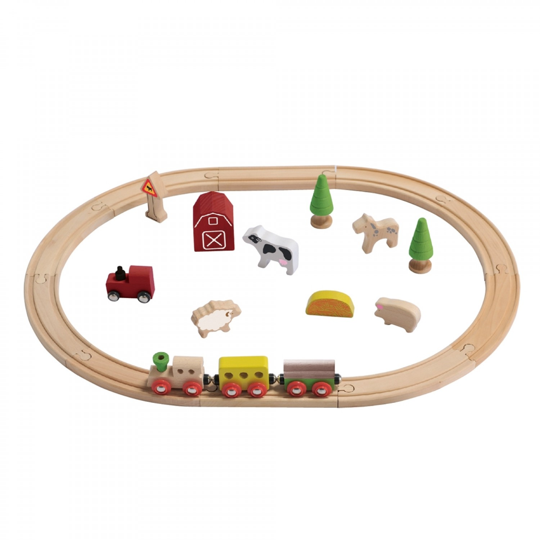 EverEarth Bio Bauernhof - Holz Eisenbahn Set - FSC Holz