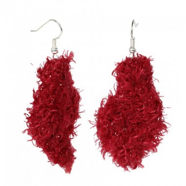 Blatt R   rote Ohrringe aus recycelter Wolle