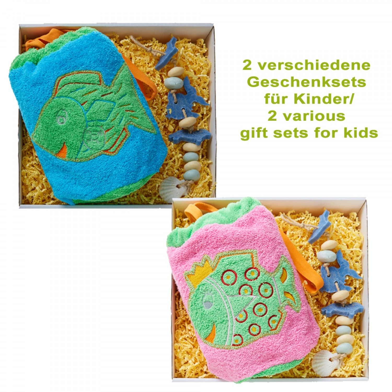 Bio Geschenkset für Kinder: Frotteebeutel & Seifenkette - early fish