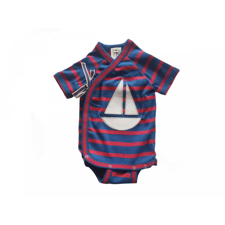 Bio Feinripp Langarm Baby Wickelbody, rot-blau mit Segelboot | Ulalü