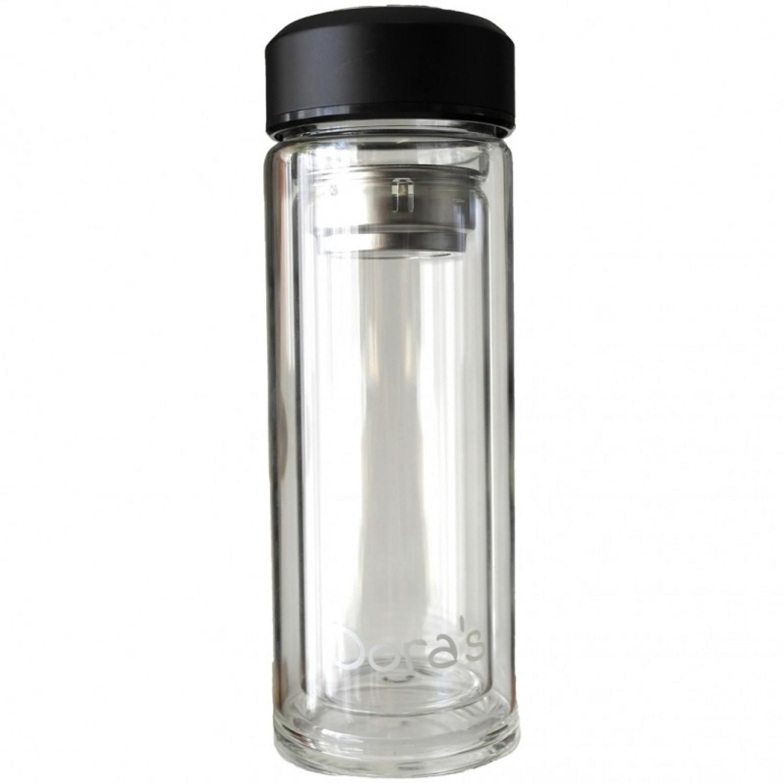 Dora's Thermoflasche aus doppelwandigem Glas für to go