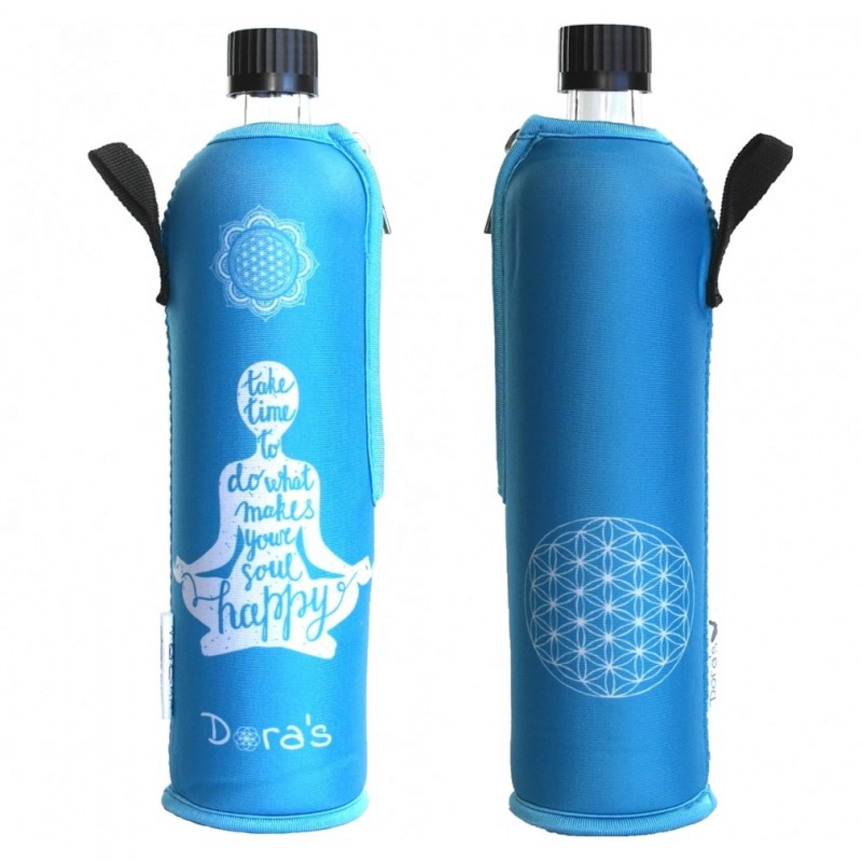 Glasflasche im Happy Yoga Neoprenanzug | Dora