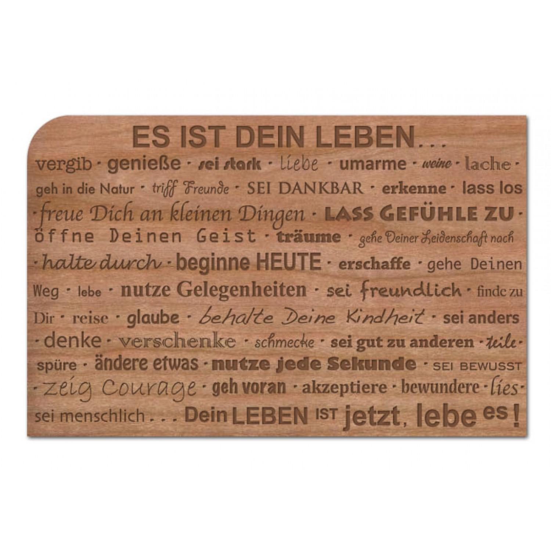"""Holzpostkarte """"Dein Leben ist jetzt. Lebe es!"""""""