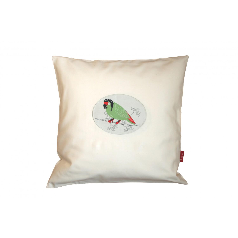 Kissen Bezug 40x40 Papagei Bio Baumwolle Satin