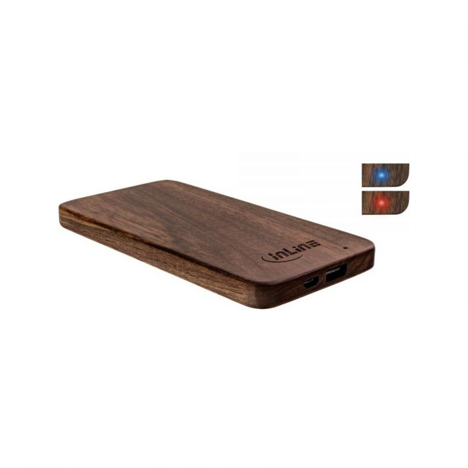 USB PowerBank aus Walnuss-Holz – InLine® woodplate