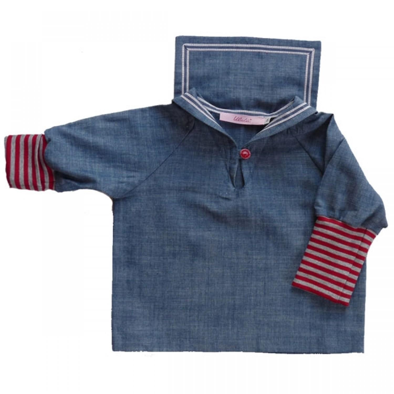 Kinder Matrosenhemd Jeans, Bio-Baumwolle | Ulalü
