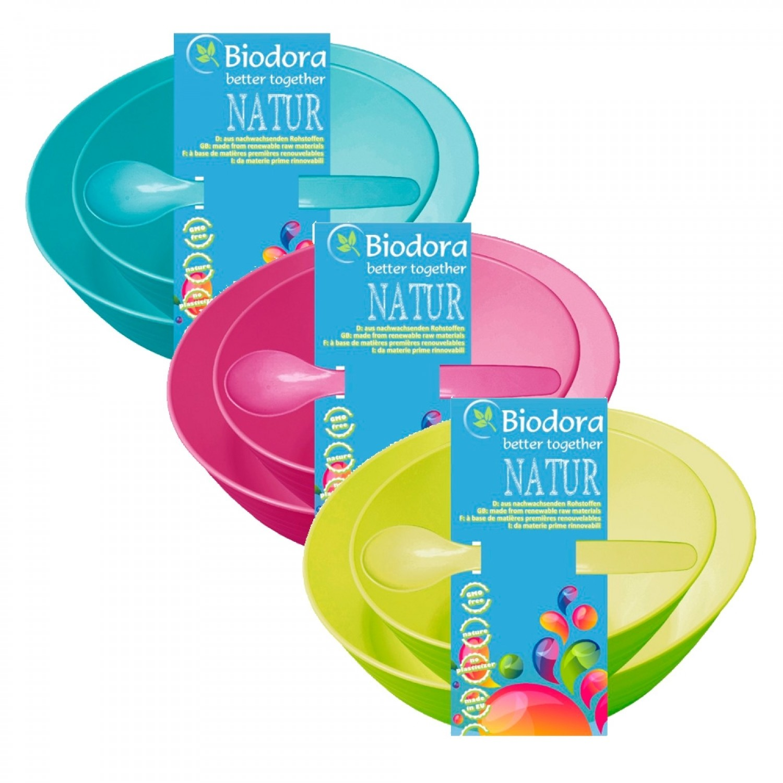 Biodora Kindergeschirr Set, 3 tlg. aus Biokunststoff