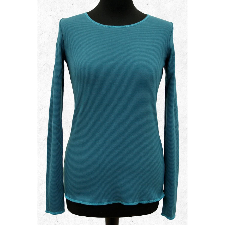 Blau-graues Langarmshirt mit Kontrastsaum in Türkis | Jalfe