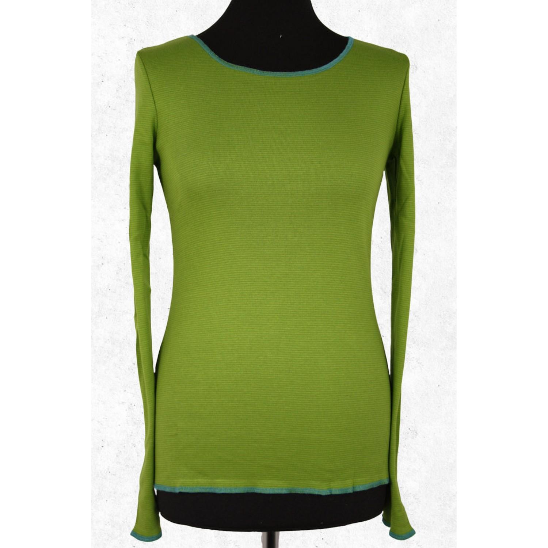Grünes fein gestreiftes Bio Damen Langarmshirt | Jalfe