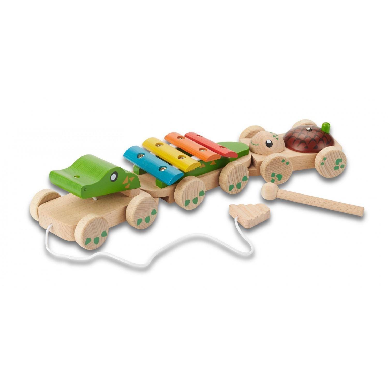 "EverEarth Musikzug ""Krokodil"" aus FSC Holz - Öko Holzspielzeug"