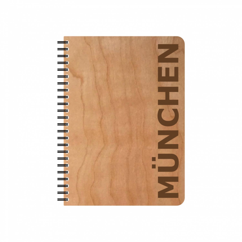 Öko Notizblock MÜNCHEN Kirschholz-Einband & FSC® Papier   Echtholz