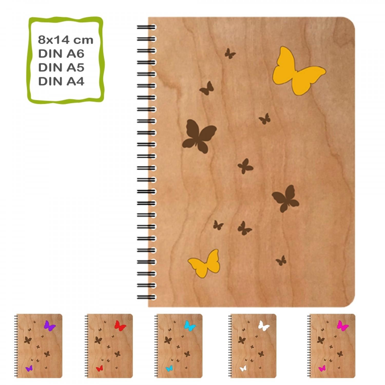 Öko Notizbuch mit Echtholz Cover Schmetterlinge | Daniel Kirst