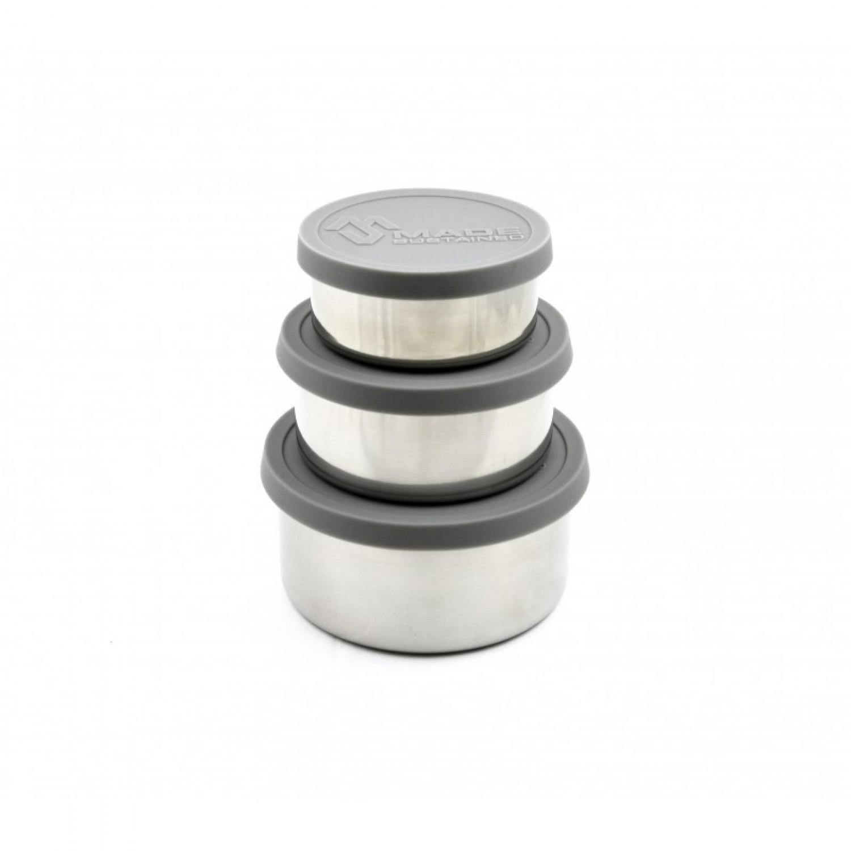 Edelstahl Rundbox Lunchbox mit Silikondeckel in Grau