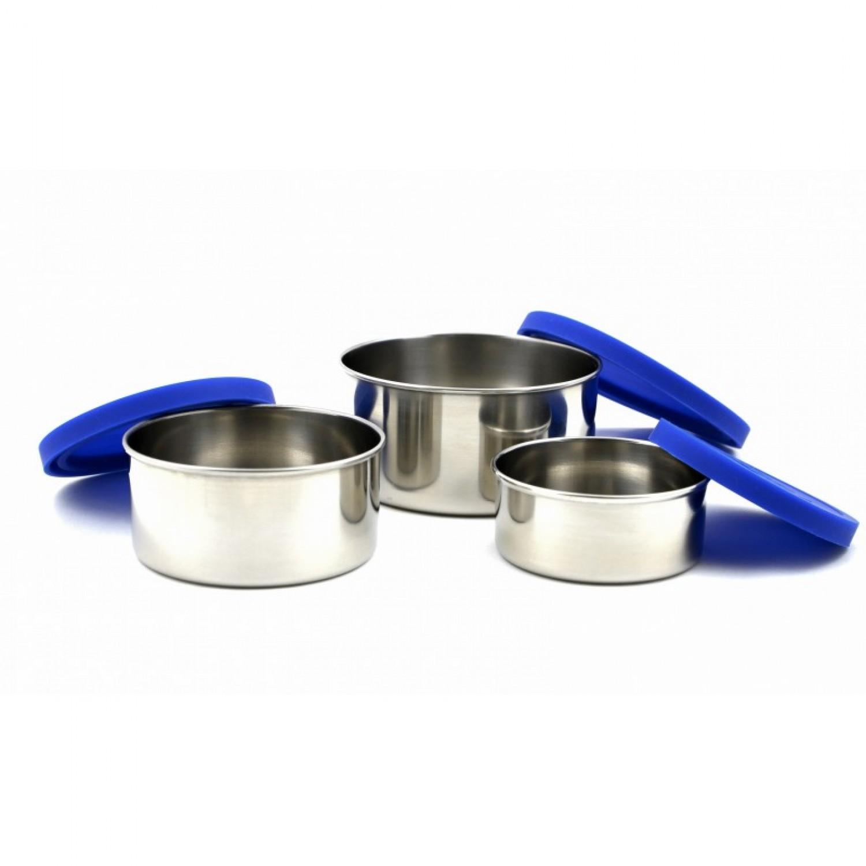 Runde Lunchboxen aus Edelstahl mit Silikondeckel in Blau