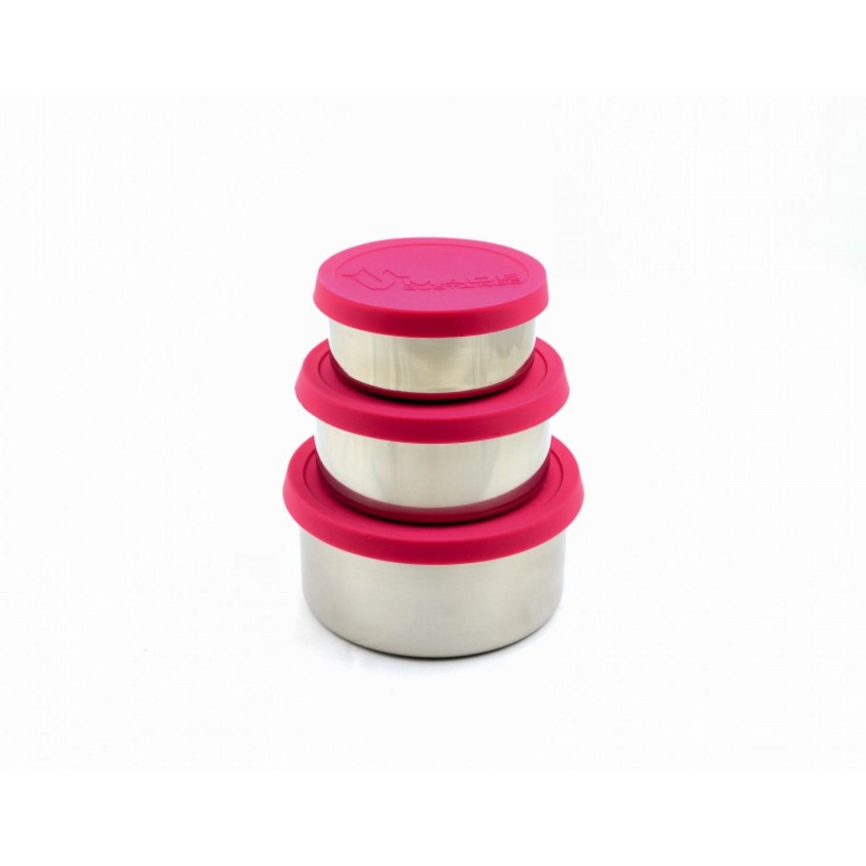 Runde Edelstahl Lunchbox mit Silikondeckel in Magenta
