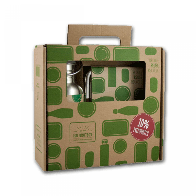 Schulstarter-Set: Trinkflasche CHI2 + Brotdose Edelstahl