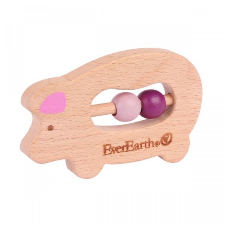EverEarth Schweinchen Öko Greifspielzeug & Beißring