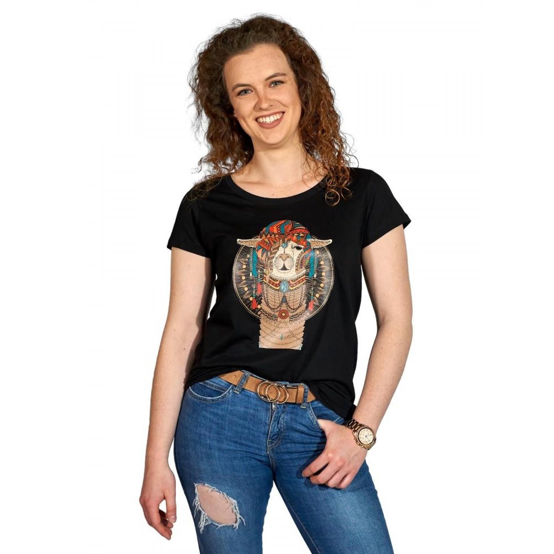 AlpacaOne Damen T-Shirt Phoenix, Bio Baumwolle, Alpaka Print