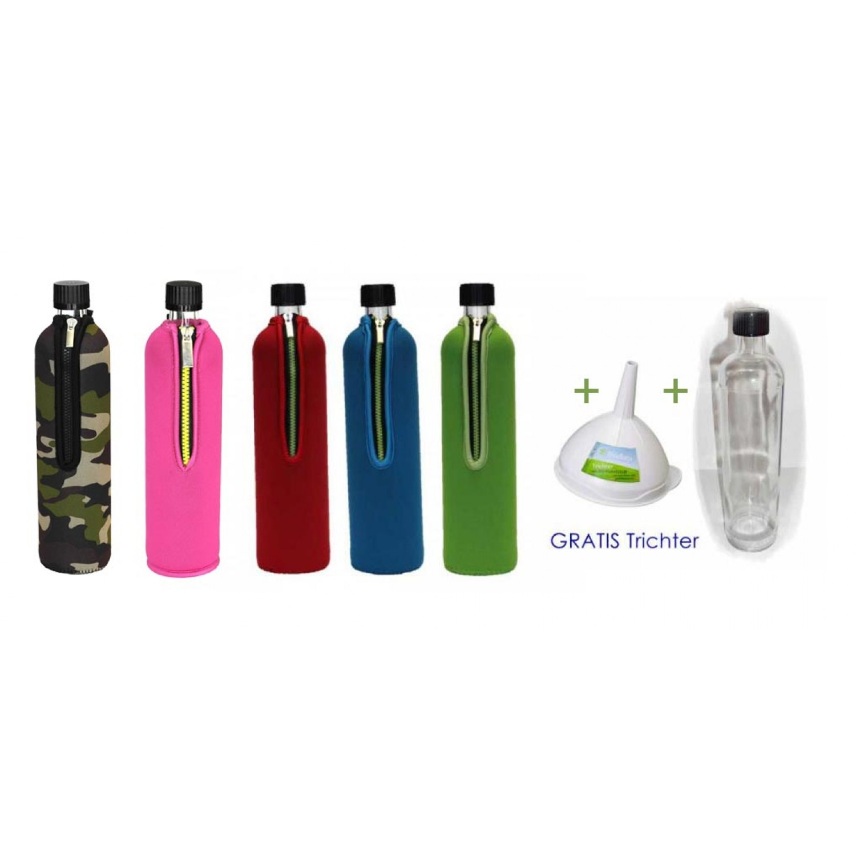 Trinkflasche aus Glas mit Neoprenbezug