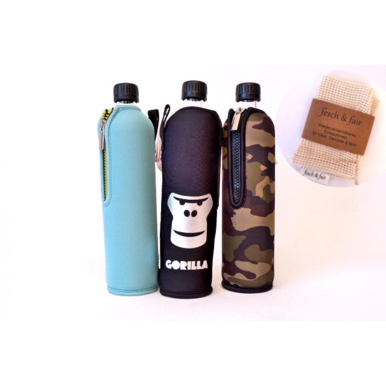 Trinkflaschen Set Gorilla mit Bio-Einkaufsbeutel » Dora's