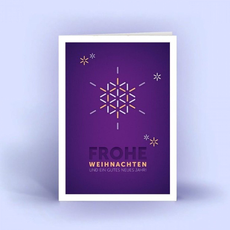 Weihnachtskarten Schneeflocke lila A6 hoch 5er Set   eco cards