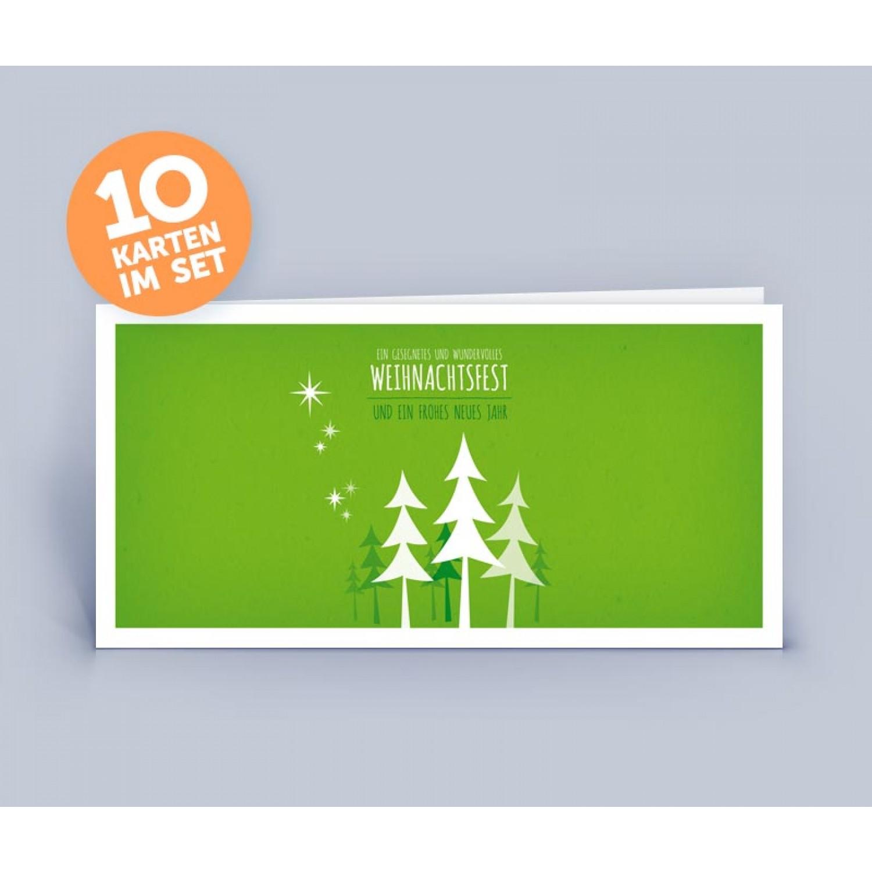 Weihnachtskarte grün moderner Weihnachtsbaum | eco-cards