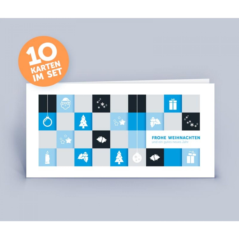 Weihnachtskarte blau mit modernem Motiv | eco-cards-shop