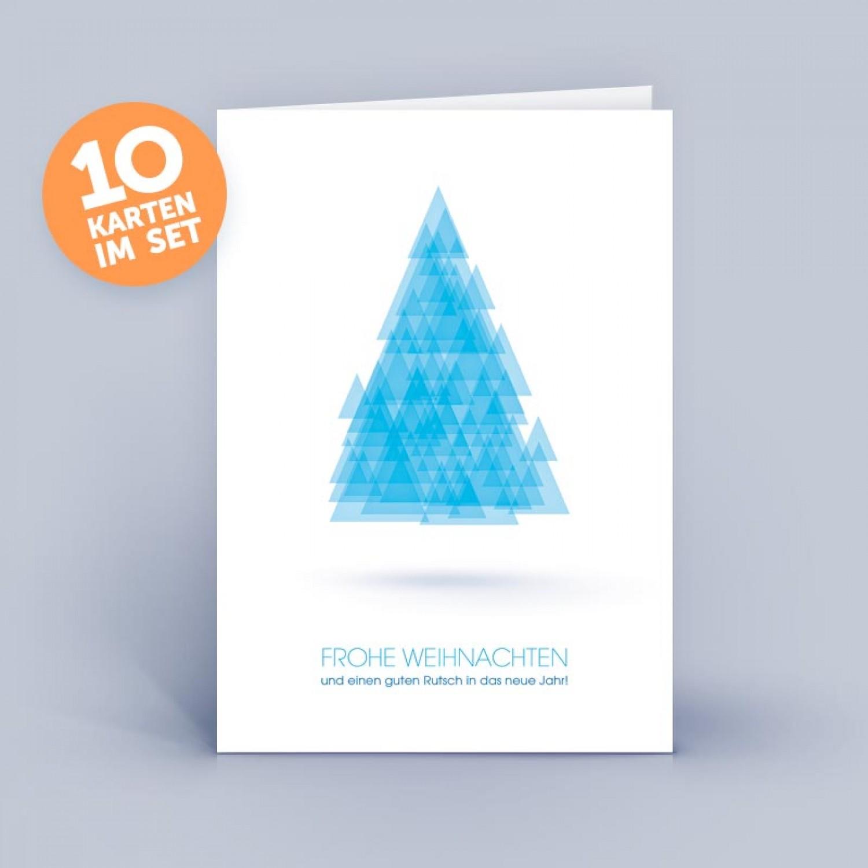 Blaue Öko Weihnachtskarte Weihnachtsbaum abstrakt | eco-cards
