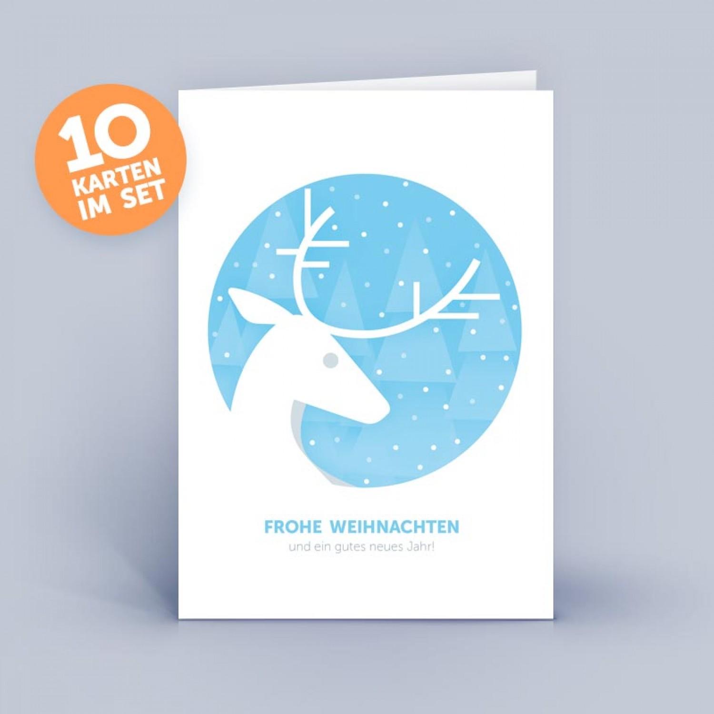 Blaue Recycling Weihnachtskarte mit Hirsch | eco-cards