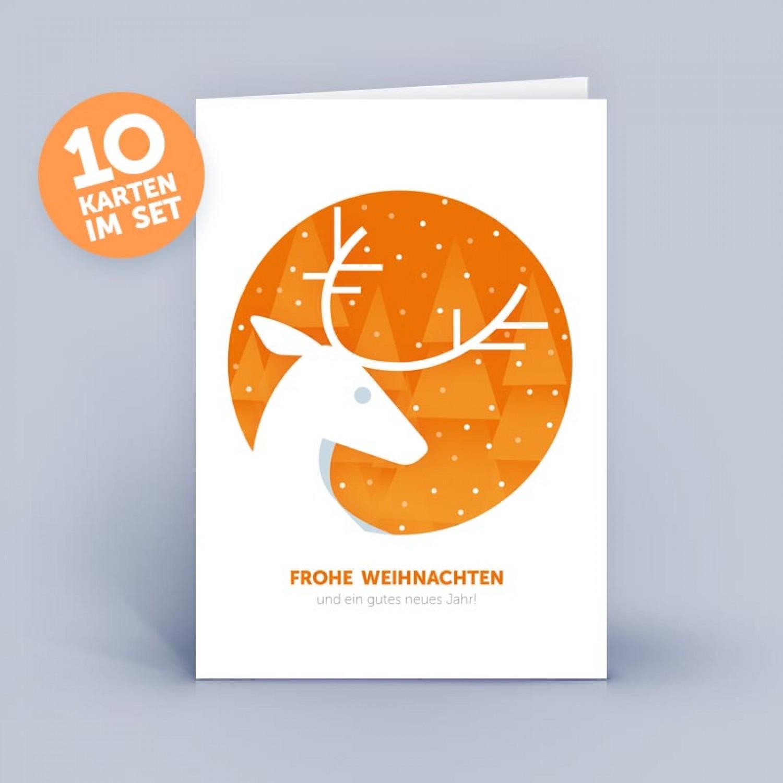 Orangefarbene Öko Weihnachtskarte mit Hirsch | eco-cards