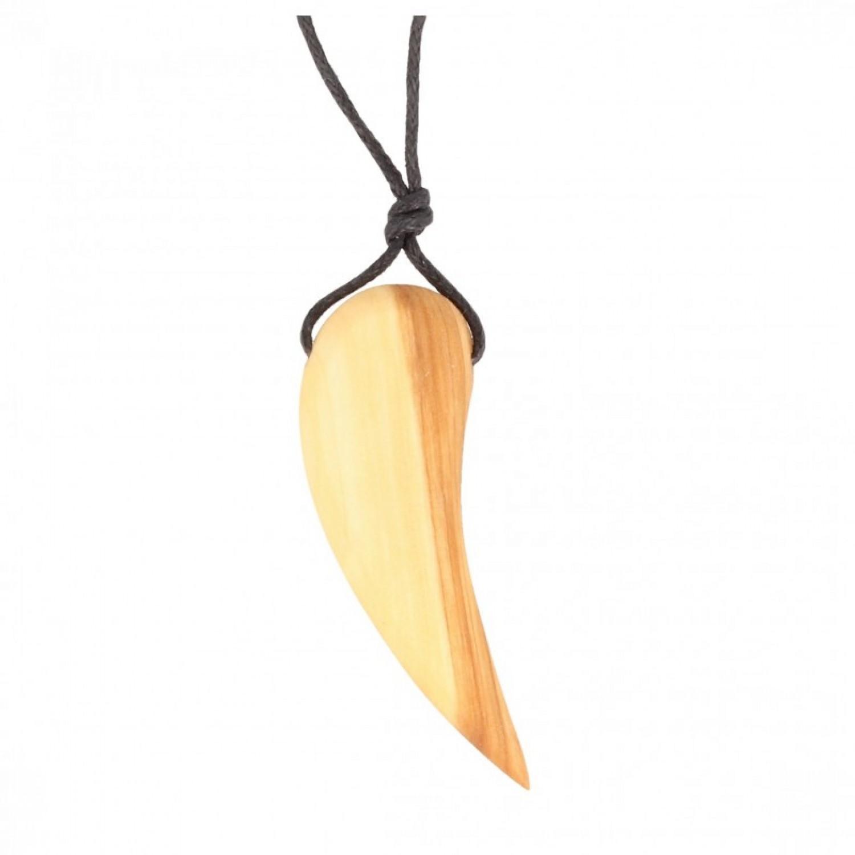 Halskette mit Zahn aus Fliederholz
