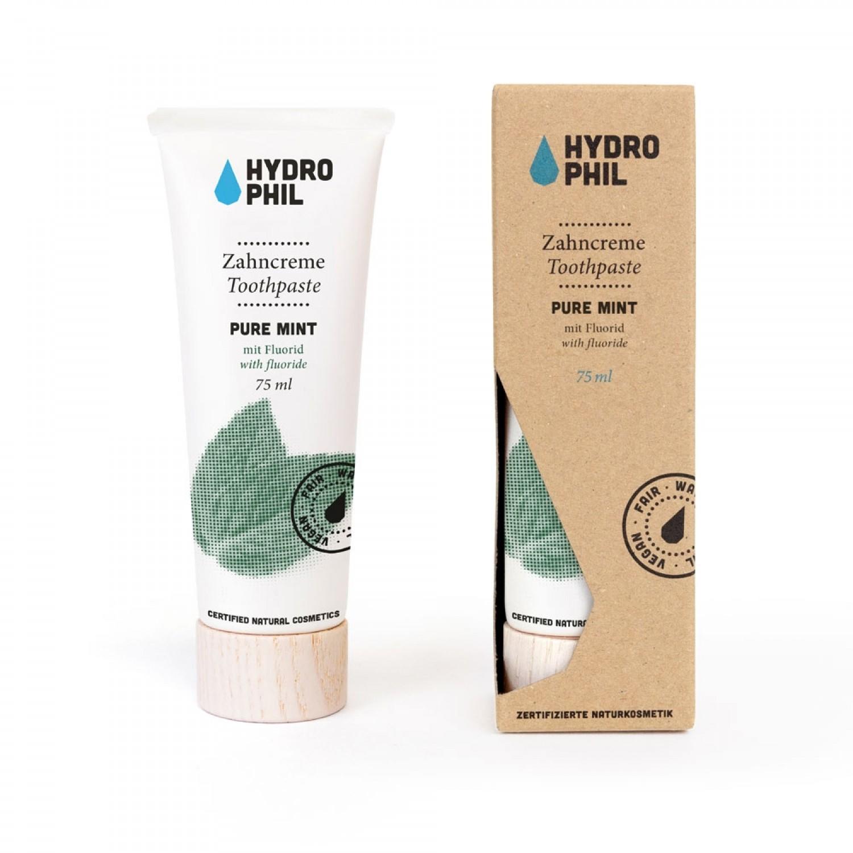 Plastikfreie Pure Mint Zahncreme mit Fluorid   Hydrophil