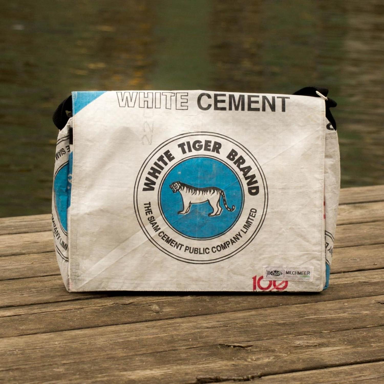Zementsack Tasche weißer Tiger