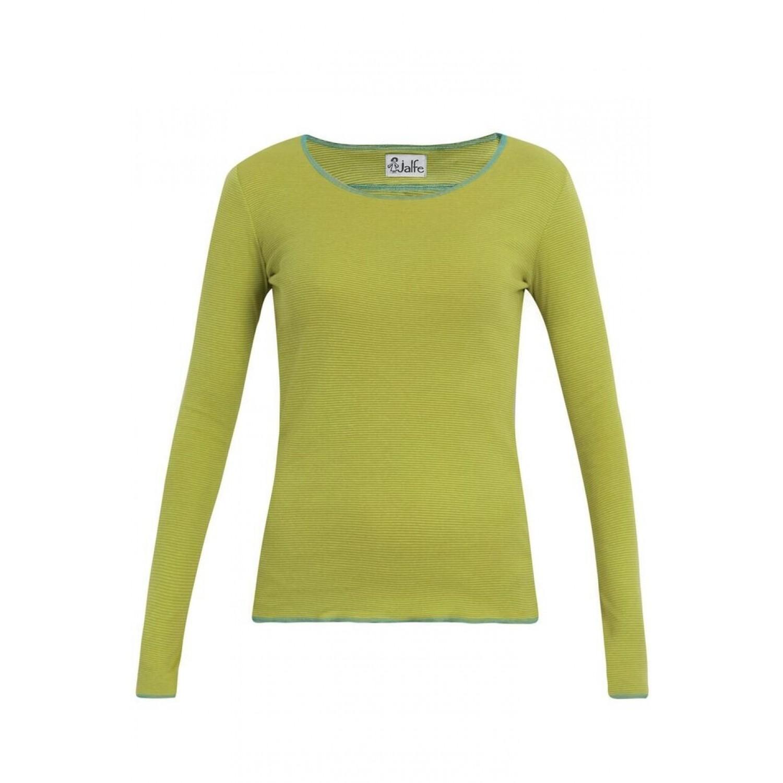 Bio Damen Langarmshirt lime-grün-türkis fein gestreift | Jalfe