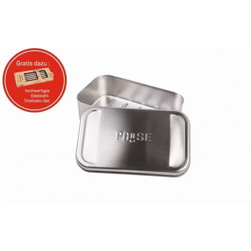 Premium Edelstahl Lunchbox PAUSE & Trinkhalm-Set » Tindobo
