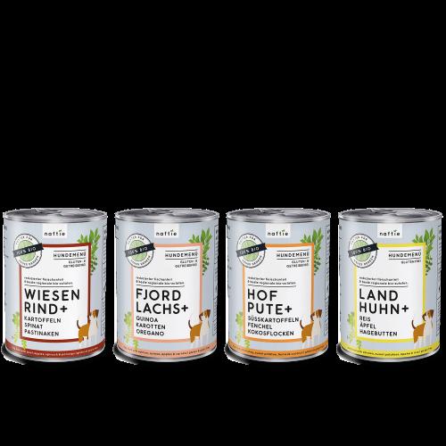 naftie Bio Hundefutter Nassfutter Test-Paket 4 Nassfutter Sorten
