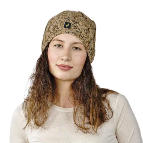 Alpaka Mütze Bella für Damen stylisch und kuschelig, One Size, Beige meliert