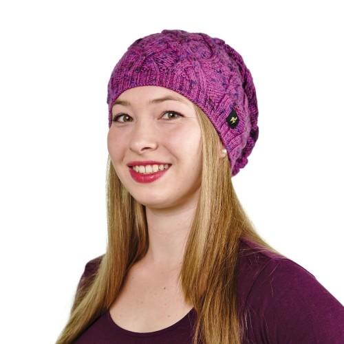 Alpaka Mütze Bella für Damen stylisch und kuschelig, One Size, Fuchsia meliert