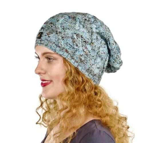 Alpaka Mütze Bella für Damen stylisch und kuschelig, One Size, Ozeanblau meliert