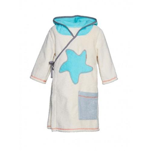 Bademantel für Kinder Natur Blau