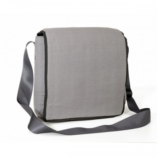 Upcycling Messenger Bag in Canvas grau