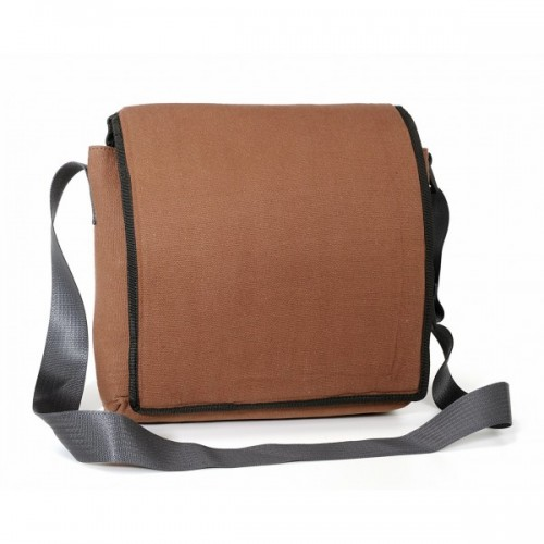 Braune Canvas Upcycling Messenger Bag