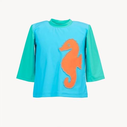 Oeko Sonnenschutz-Shirt Seepferdchen für Mädchen | early fish