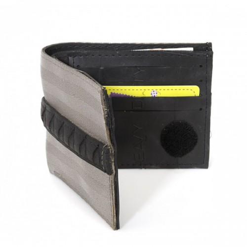 Upcycling Kreditkartenetui in Schwarz/Grau