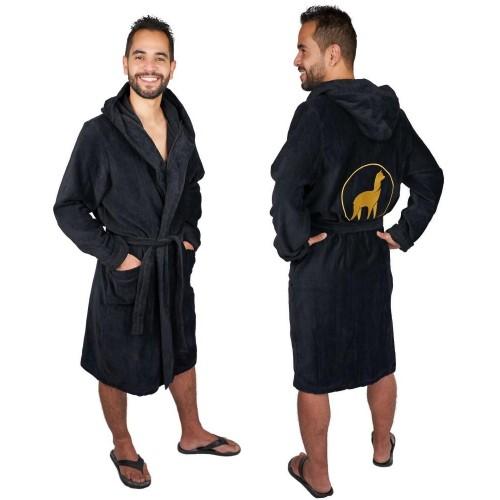 Bademantel für Herren OEKO-TEX® Baumwolle mit Alpaka Stickerei » AlpacaOne