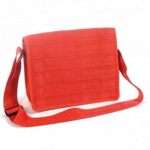 Rote Messenger Bag Grau | recycelter Sicherheitsgurt