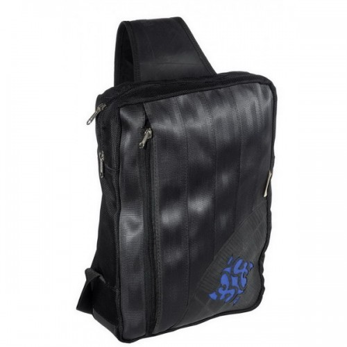 Upcycling Rucksack schwarz/blau
