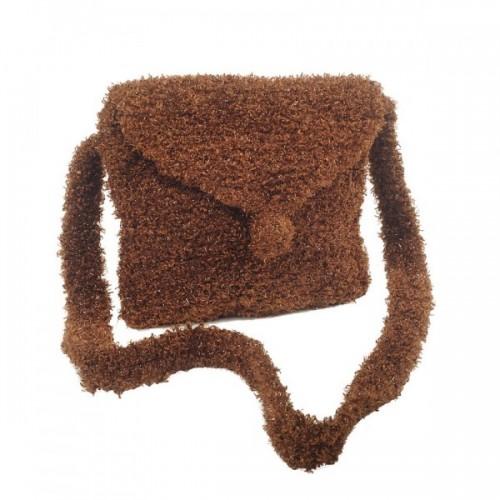 Braune Handtasche aus Recycling Wolle