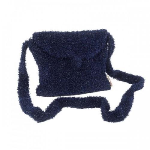 Blaue Handtasche aus Recycling Wolle