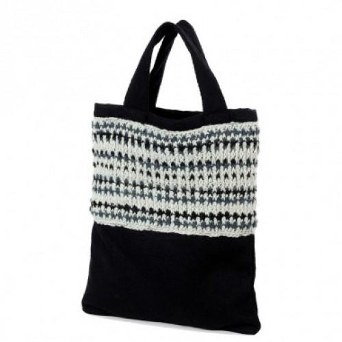 Upcycling Einkaufstasche aus Wolle + Filz | Ganga schwarz